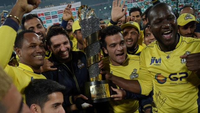 Peshawar Zalmi celebrate in Lahore.