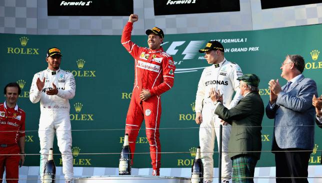 Podium trio: Hamilton, Vettel and Bottas.