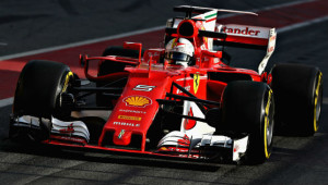 In action: Vettel during Barcelona testing.