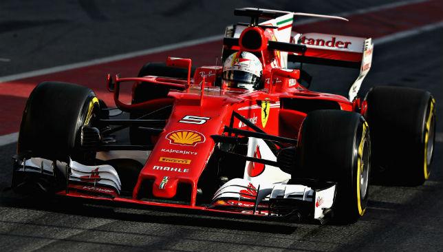 In action: Vettel during Barcelona testing.