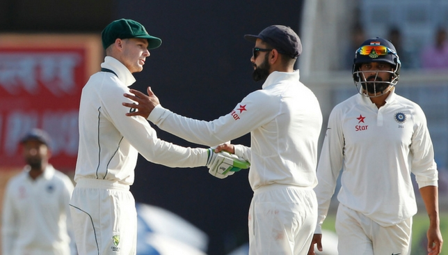 Peter Handscomb and Virat Kohli shake hands after the Ranchi Test [Sportzpics]