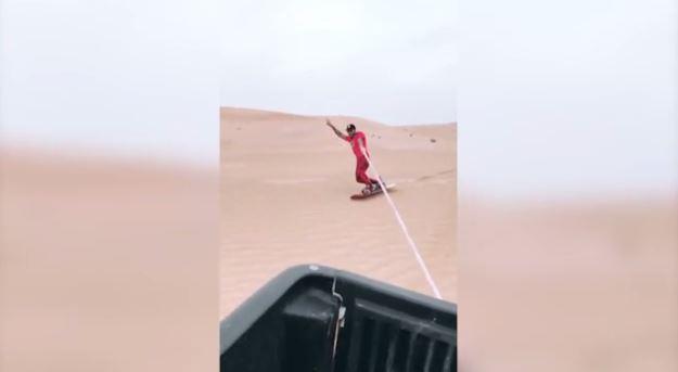 Hamilton sandboarding in the UAE.