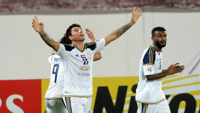 Prolific Al Wahda striker Sebastian Tagliabue celebrates his goal