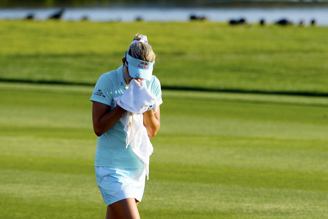 Lexi Thompson cries during the final round of the ANA Inspiration