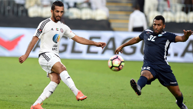 Party time: Al Jazira's Ali Mabkhout against Hatta (PLC).