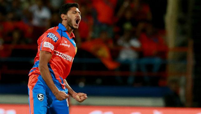 Basil Thampi celebrates a wicket.