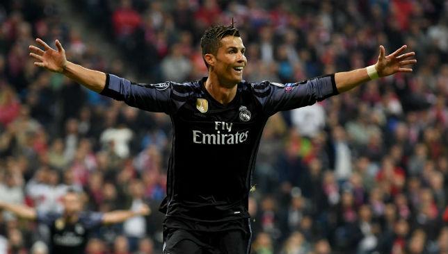 Ronaldo celebrates after scoring against Bayern Munich.