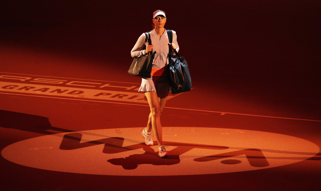 Dramatic entrance: For Sharapova.