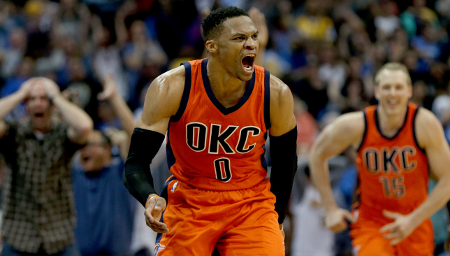 On fire: Russell Westbrook.