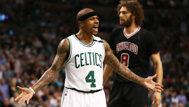 Frustration seeping in: Isaiah Thomas (l).