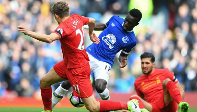 Mersey battle: Everton star Idrissa Gueye in action.