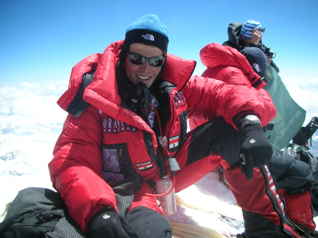 Omar Samra on top of Mount Everest.