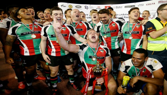 Boler (c) celebrates Quins' UAE Premiership win against Jebel Ali Dragons