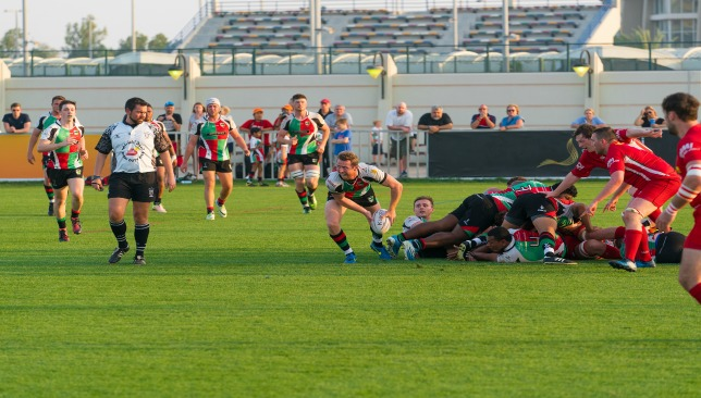 Quins scrum-half Sam Bolger scored a try for the champions