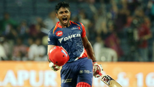 Celebrating his first T20 century: Sanju Samson.