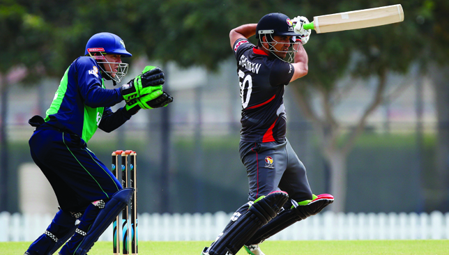 Shaiman Anwar (pictured here against Ireland) hit the winning runs for UAE.