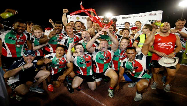 Harlequins players celebrate their UAE Premiership win