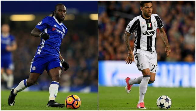 Wing-backs: Victor Moses (L), Dani Alves (R)