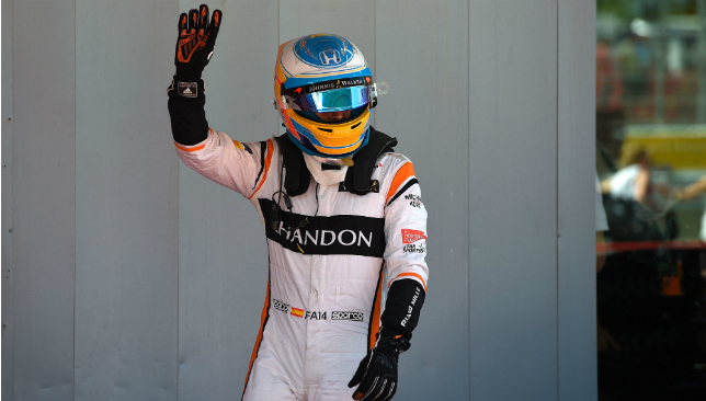 Waving goodbye: Fernando Alonso.