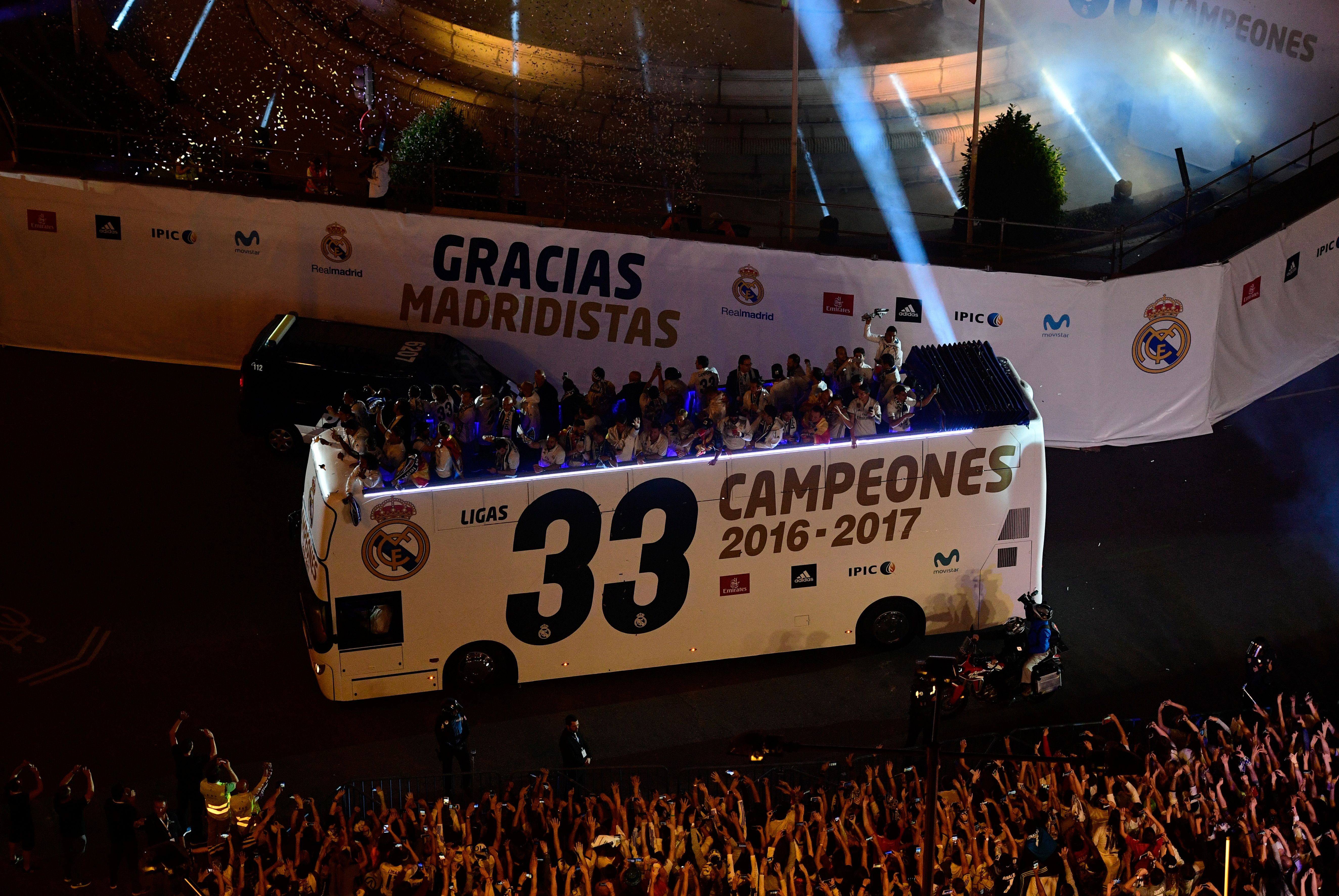 Real Madrid celebrate at the famous Plaza Cibeles.
