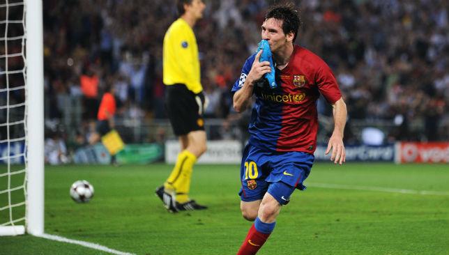Barcelona forward Lionel Messi celebrates scoring a goal in the final.