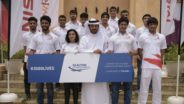 Future stars: GCC's most promising young drivers pose with Ben Sulayem.