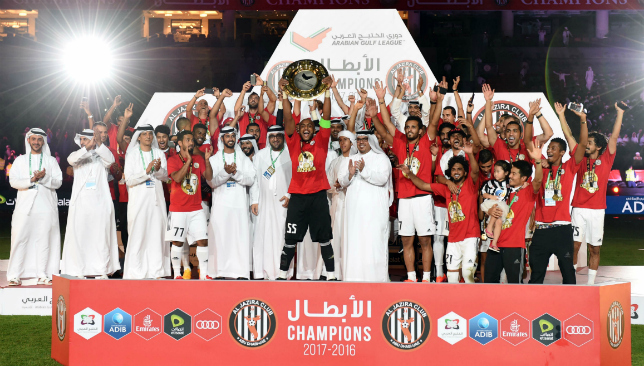 Good times: Al Jazira with the Arabian Gulf League's title (PLC).