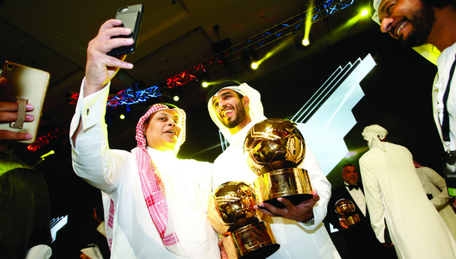 Stop for a selfie: Ali Mabkhout celebrates his success (Chris Whiteoak).