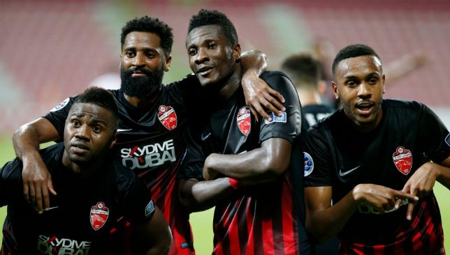Strike a pose: Asamoah Gyan celebrating versus Lokomotiv (Chris Whiteoak).