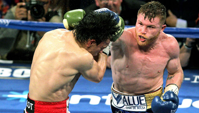 Canelo Alvarez (r) tore through Julio Cesar Chavez Jnr in Las Vegas.