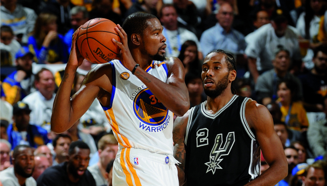 Stars are out: Kevin Durant and Kawhi Leonard. Picture: Getty Images.