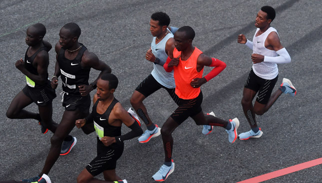 Kipchoge, Tadese and Desisa run during Nike's Breaking 2.