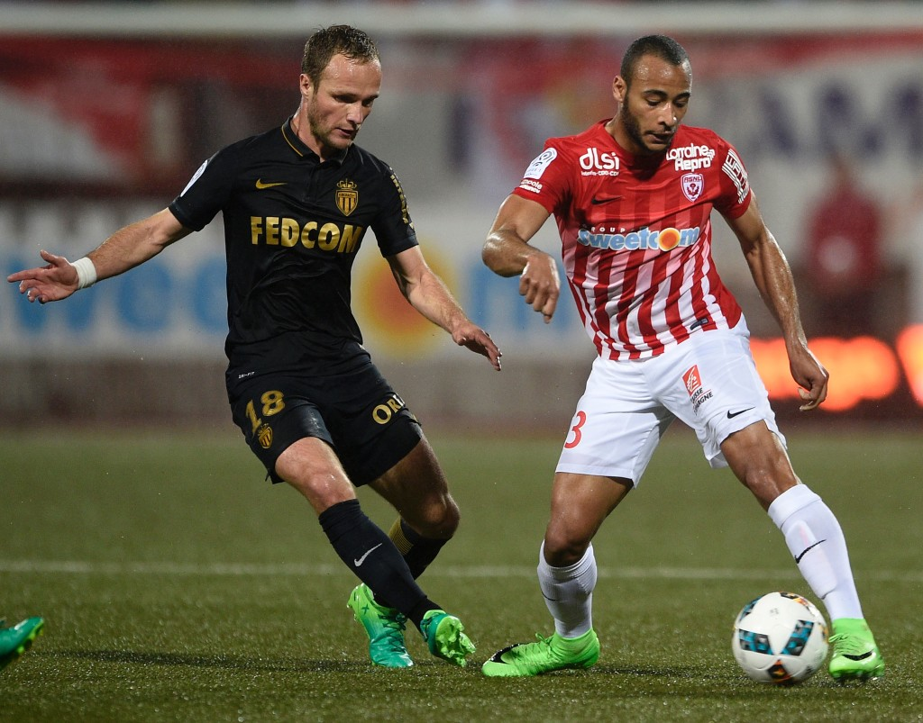 Nancy's French defender Tobias Badila (R) vies for the ball with Monaco's French forward Valère Germain during the French Ligue 1 football match between Nancy (ASNL) and Monaco (ASM) on May 6, 2017 at Marcel Picot stadium in Tomblaine, eastern France. / AFP PHOTO / Jean Christophe VERHAEGEN (Photo credit should read JEAN CHRISTOPHE VERHAEGEN/AFP/Getty Images)