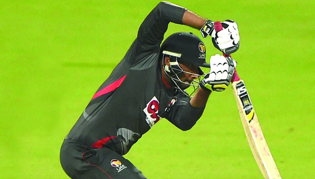 ABU DHABI, UNITED ARAB EMIRATES - JANUARY 15: Ghulam Shabbir of United Arab Emirates bats during the Desert T20 Challenge match between United Arab Emirates and Namibia at Sheikh Zayed Cricket Stadium on January 15, 2017 in Abu Dhabi, United Arab Emirates.  (Photo by Tom Dulat/Getty Images)