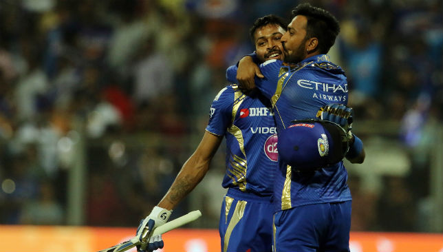 Brothers Hardik and Krunal Pandya celebrate a victory in the IPL.
