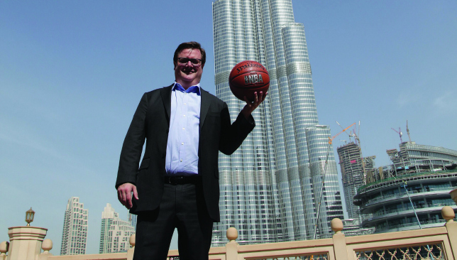 New heights: Ben Morel in front of the Burj Khalifa.