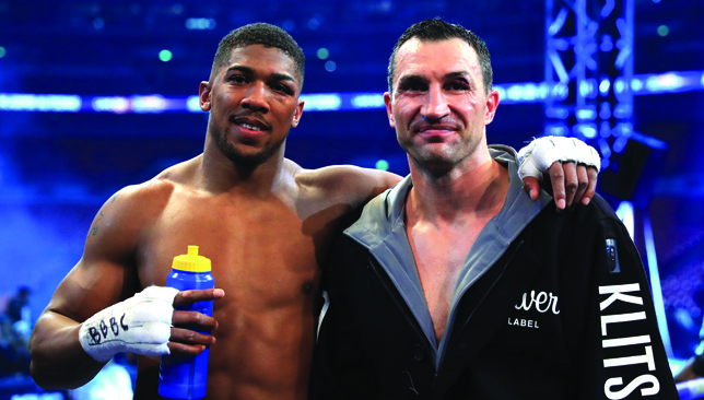 Anthony Joshua and Wladimir Klitschko after the fight.