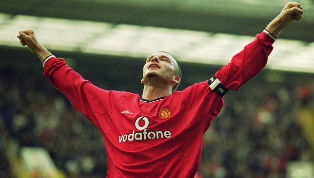 David Beckham celebrates scoring Manchester United's 5th goal.