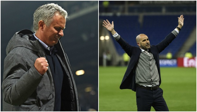 Manchester United boss Jose Mourinho (L) and Ajax coach Peter Bosz (R).