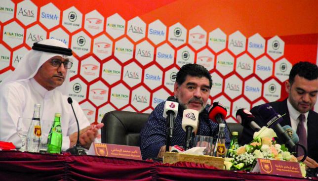 Leader of the pack: Diego Maradona is unveiled by Fujairah (Fujairah).