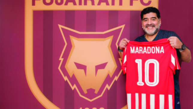 Diego's back: Maradona with the Fujairah shirt (Fujairah).