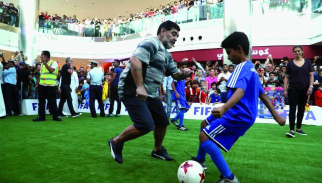Back in action: Maradona in Bahrain (FIFA).