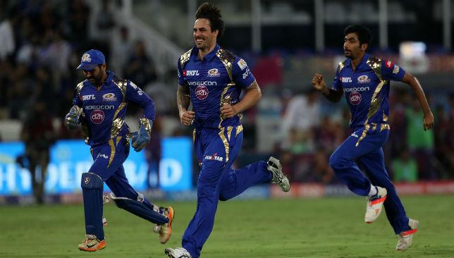 Winners: Mumbai Indians players celebrate.