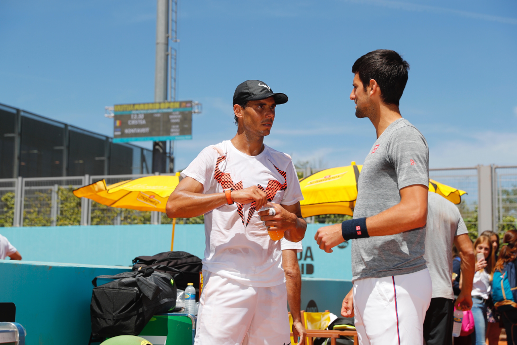 Djokovic and Nadal at the practice courts in Madrid (Credit: Mutua Madrid Open).