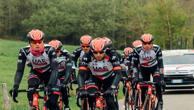 The UAE team train in Belgium