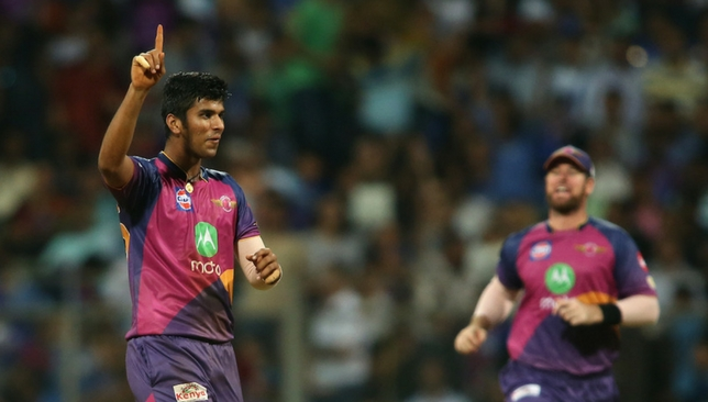 Sundar celebrates the wicket of Rohit