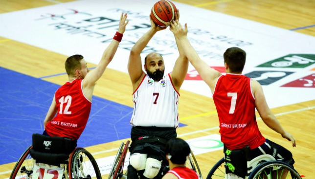 In action: Al Zarooni going for the hoop against Great Britain.