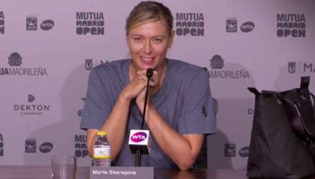 Sharapova was in a good mood on Sunday after she reached the second round in Madrid.