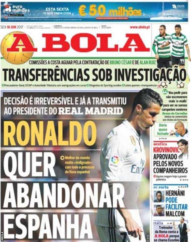 Portuguese daily paper A Bola