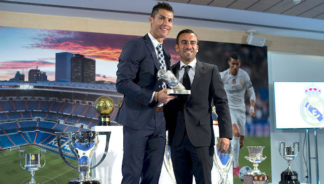 Cristiano Ronaldo (L) with his agent Jorge Mendes.